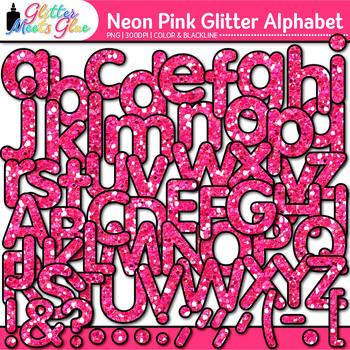 Neon Pink Alphabet Clip Art {Glitter Letters for Classroom