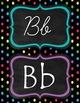 Neon Polka Dot manuscript & cursive ABC Classroom Decorations