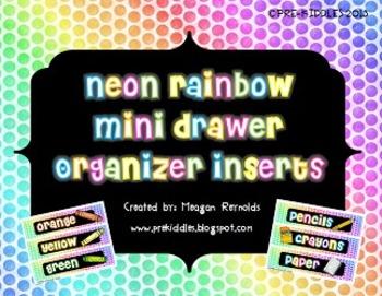 Neon Rainbow Mini Drawer Organizer Inserts