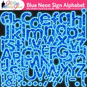 Blue Neon Sign Alphabet Clip Art {Glitter Letters for Clas