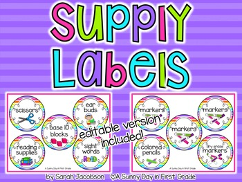 Neon Supply Labels {editable!}