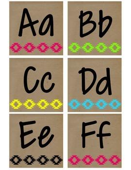 Neon Tribal Print Alphabet - Upper & Lower Case