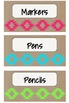 Neon Tribal Teacher Toolbox Labels including Blank