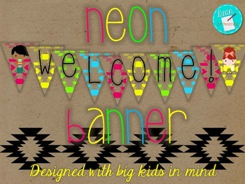Neon Welcome Banner, big kid readers