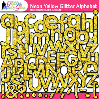 Neon Yellow Alphabet Clip Art {Glitter Letters for Classro