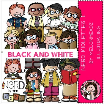 Nerd kidlettes by Melonheadz BLACK AND WHITE