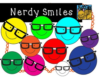 Nerdy Smiley Face Clip Art by Kid-E-Clips Commercial and P