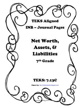 Net Worth, Assets, and Liabilities INB TEKS 7.13C
