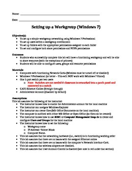 Networking:  Windows 7 Workgroup