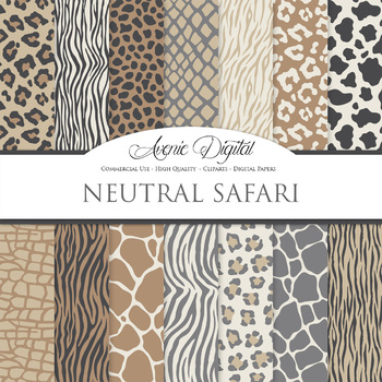 Neutral Animal Prints Digital Paper safari scrapbook backg