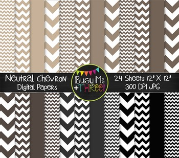 Neutral Chevron Digital Papers {Commercial Use Digital Graphics}