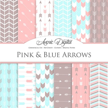 Pink and Digital Paper patterns tribal arrows pastel scrap