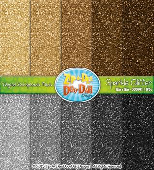 Neutral Sparkle Glitter Digital Scrapbook Pack (10 Pages)
