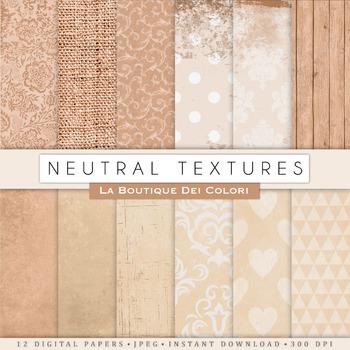 Neutral Textures Digital Paper, scrapbook backgrounds