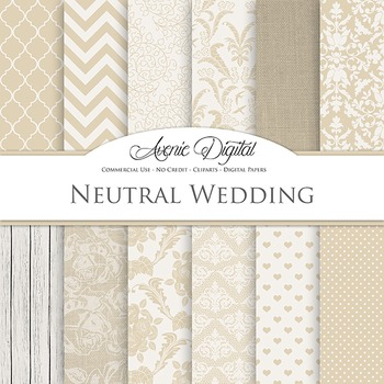 Neutral Wedding Digital Paper patterns - tan brown save th