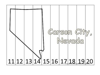 Nevada State Capitol Number Sequence Puzzle 11-20.  Geogra