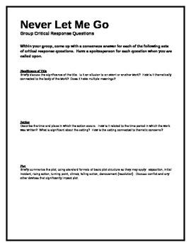 Never Let Me Go - Group Critical Response Questions