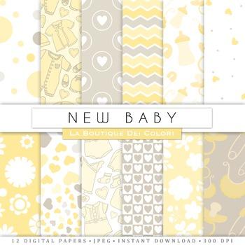New Baby Yellow Digital Paper, scrapbook backgrounds