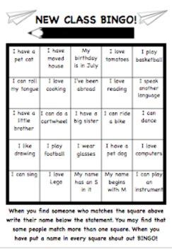 New Class Bingo! Back to school ice breaker