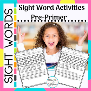 Sight Words:  Pre-primer Activity Ready to Use Printables