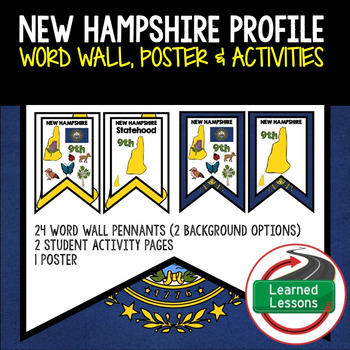 New Hampshire History Word Wall, State Profile, Activity Pages
