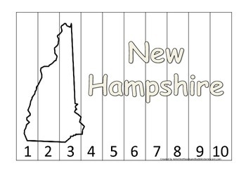 New Hampshire Number Sequence Puzzle.  Learn the States pr