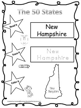New Hampshire Read it, Trace it, Color it Learn the States