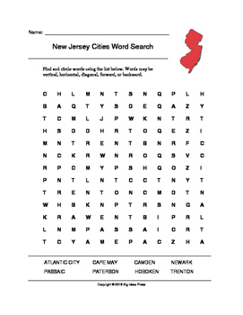 New Jersey Cities Word Search (Grades 3-5)