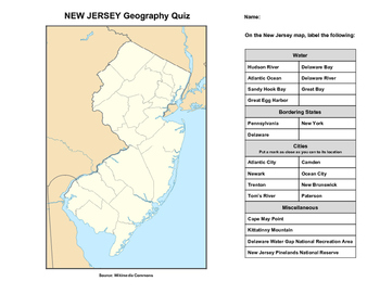 New Jersey Geography Quiz