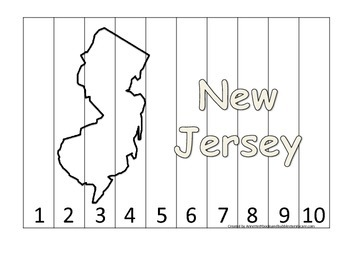 New Jersey Number Sequence Puzzle.  Learn the States presc