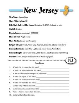 New Jersey State Information & Worksheet