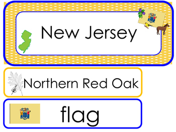New Jersey State Word Wall Bulletin Board Set. Geography C