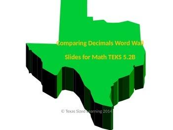 New Math TEKS 5.2B, Comparing Decimals Vocabulary and Word
