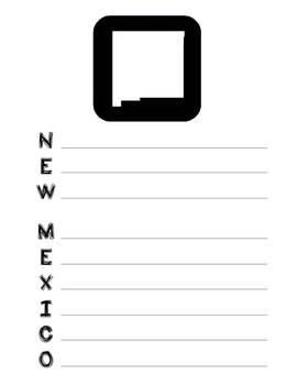 New Mexico State Acrostic Poem Template, Project, Activity