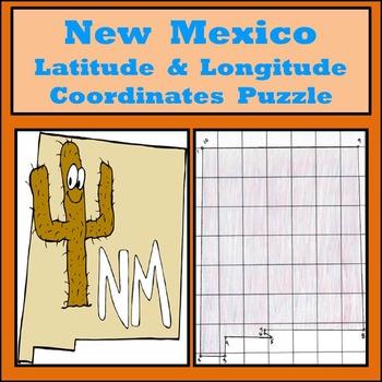 New Mexico Latitude and Longitude Coordinates Puzzle - 10
