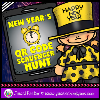 New Year's 2017 Activities (New Year's QR Codes Scavenger Hunt)