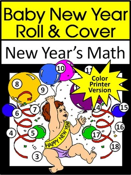 New Year's Math Activities: Baby New Year Roll & Cover Mat