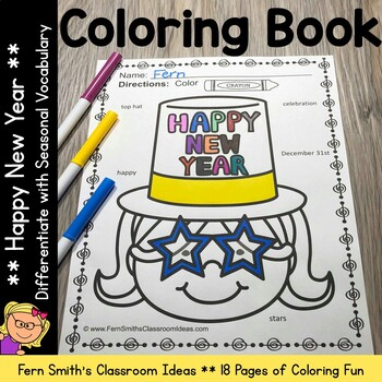 Coloring Page for New Years with Differentiated Seasonal V