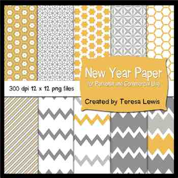 New Year Gray and Gold Paper