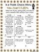 New Year's Choice Menus, Vocab Game Writing Activities, Ch