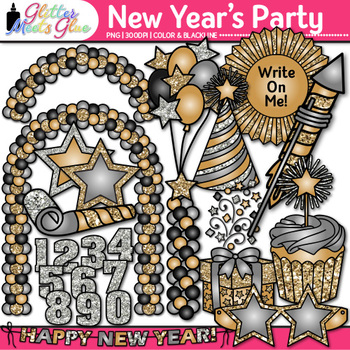 New Year's Eve Party Clip Art {Cupcake, Hat, Star, Balloon