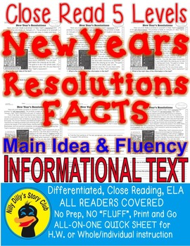 New Year's Resolutions FACTS Close Read 5 Levels Info Text