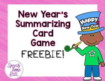 New Year's Summarizing Card Game FREEBIE!