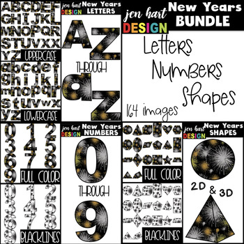 New Years Clip Art BUNDLE- New Years Fireworks Letters, Nu
