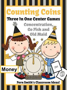 New Years Money Coins Only Center Games for Go Fish Old Ma