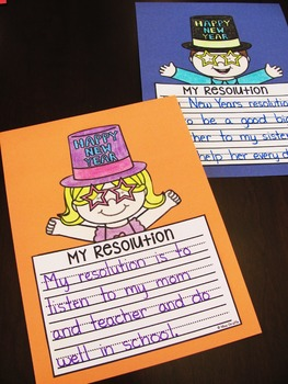 New Years Resolutions NO PREP Writing Crafts