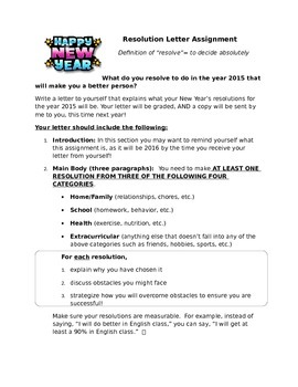 New Year's Resolution Letter Writing Assignment (Five Paragraphs)