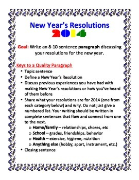 New Year's Resolution Paragraph Writing Activity