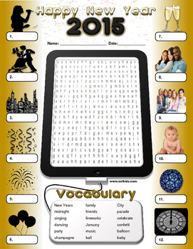 New Years Word search and Identify activity