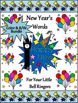 New Year's Activities: New Year's Words Flash-card & Word